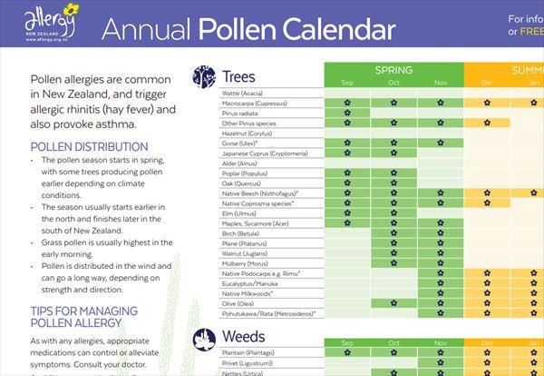 花粉の飛散カレンダー